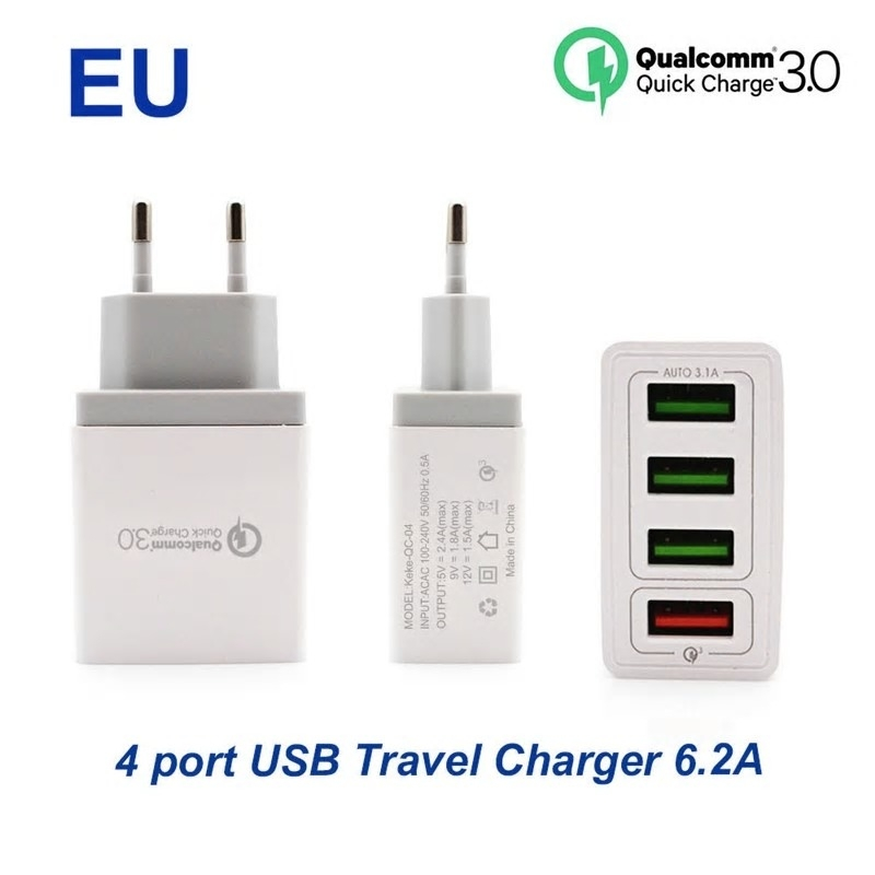 4 poorts USB Fast Charger, voor o.a. iPhone en Samsung