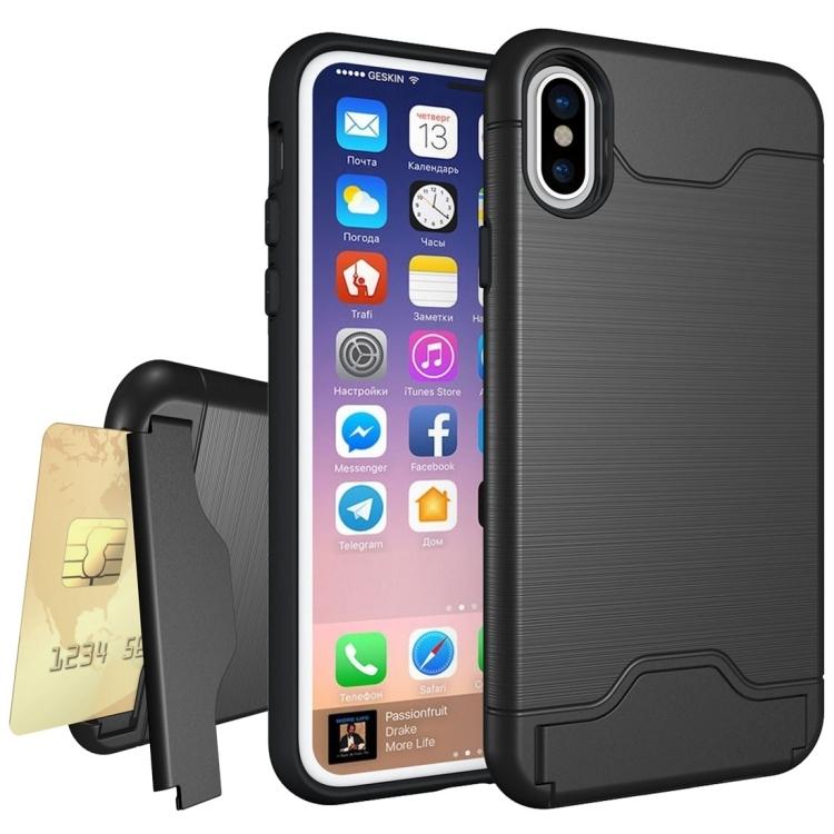Dagaanbieding - iPhone X geborsteld beschermend hoesje met pasjeshouder dagelijkse aanbiedingen