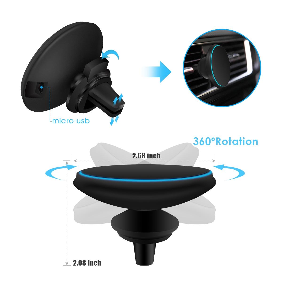 magnetische qi draadloze autolader ventilator voor iphone. Black Bedroom Furniture Sets. Home Design Ideas