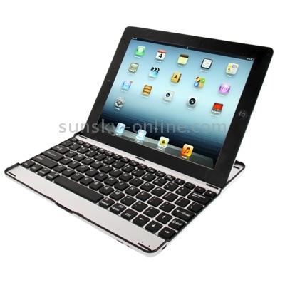 Apple iPad 2, 3 en 4 BT toetsenbord in aluminium hoes met zwarte toetsen